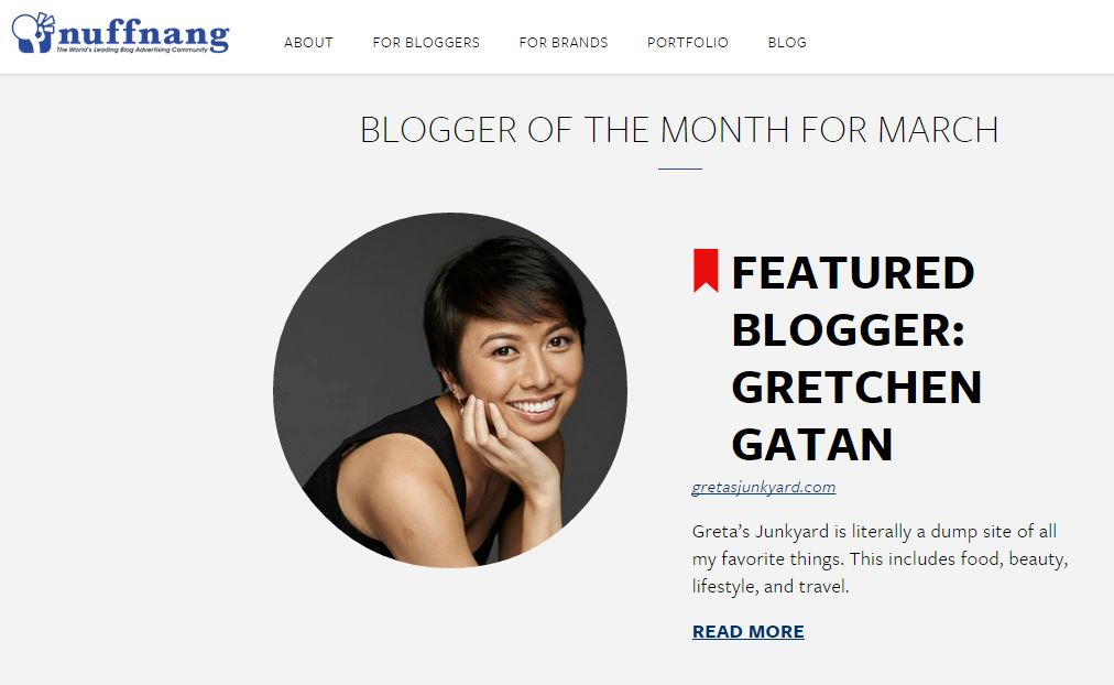 Nuffnang Featured Blogger of the Month Greta's Junkyard
