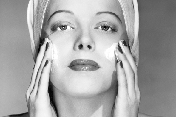 vintage woman applying cold cream