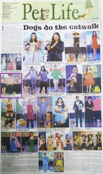 Philippine Inquirer feature on the Pet Express x PAWS Fashion Show which Booboo and I were a part of. October 25, 2015.