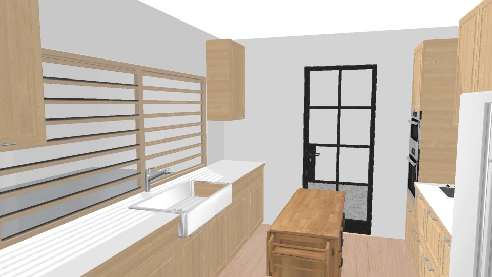 white and wood kitchen render
