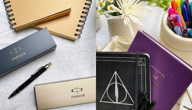 parker bellpen with notebooks