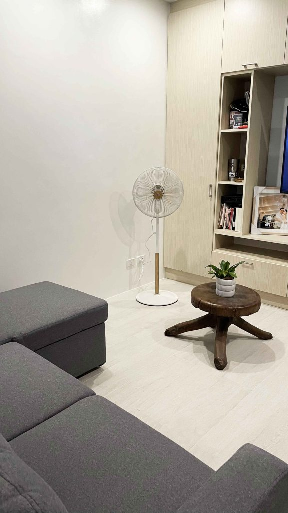 asahi retro wooden stand fan in our living area