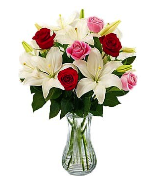 casablanca lilies with red and pink roses