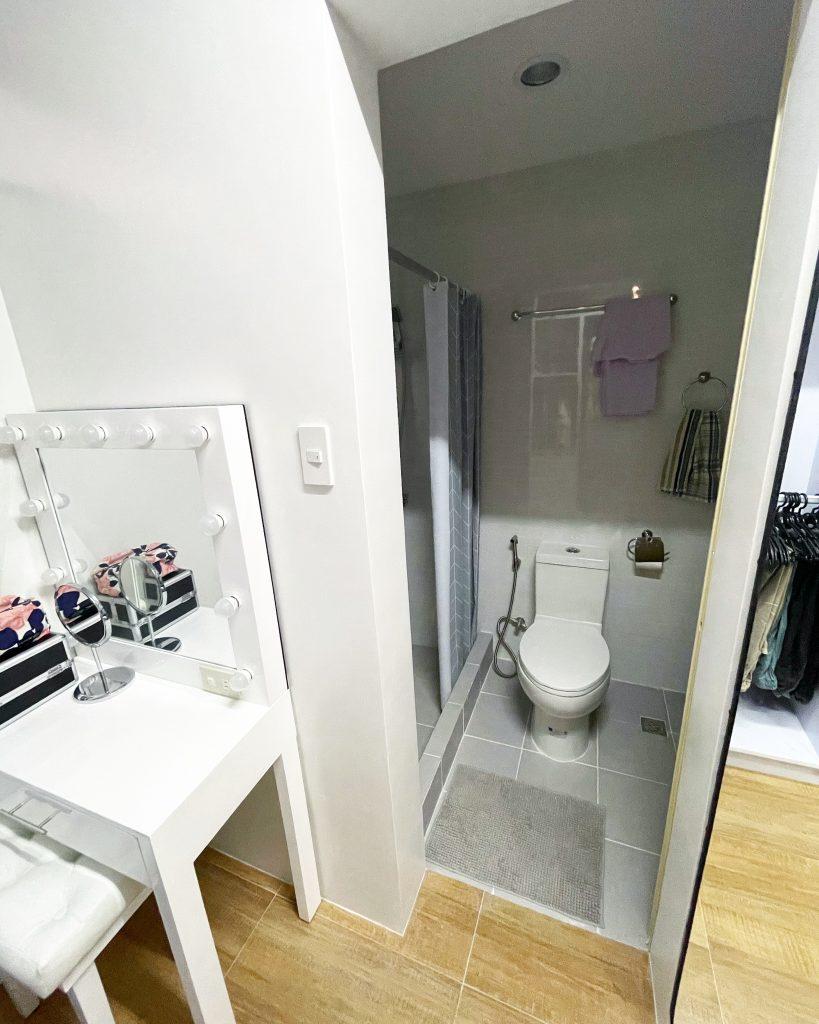 bathroom inside walk-in closet