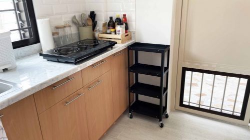 stainless steel rack cart in the kitchen