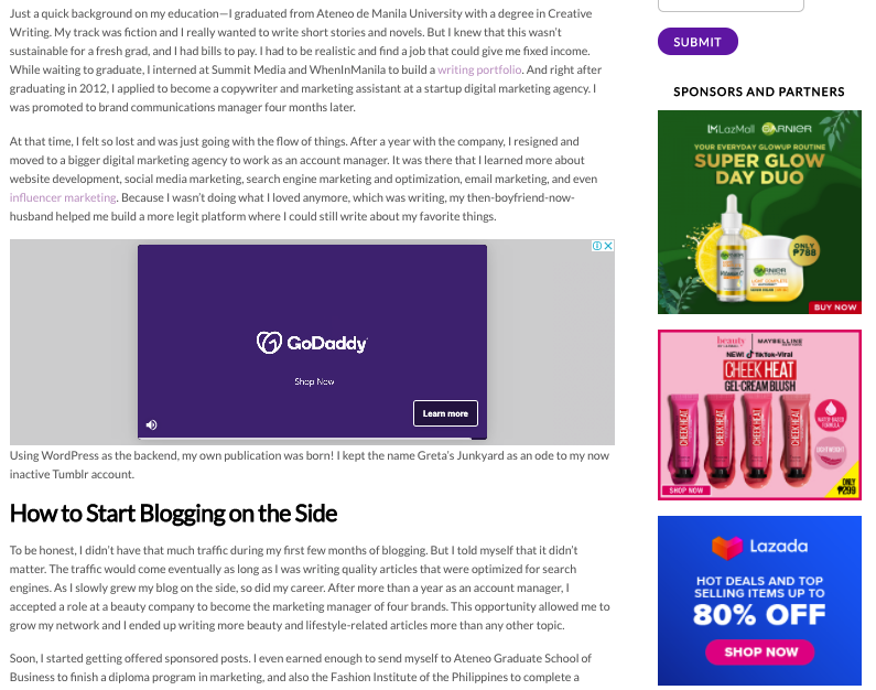 how to earn money from blogging through in-article and side bar ads