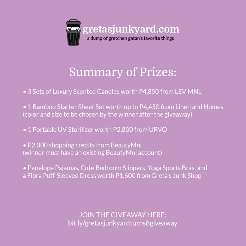 anniversary giveaway summary of prizes